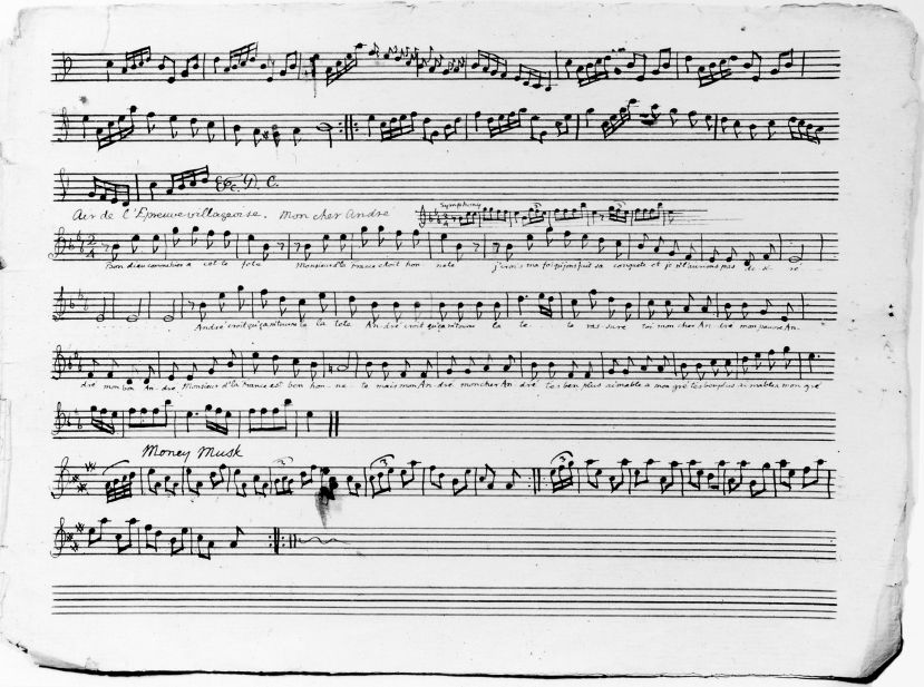 Sheet music with notation for two songs in Jefferson's hand.