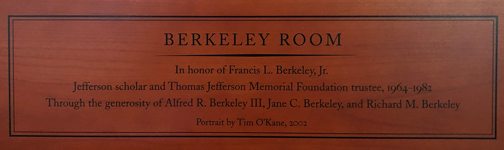 Plaque from the Berkeley Room at Monticello's Jefferson Library
