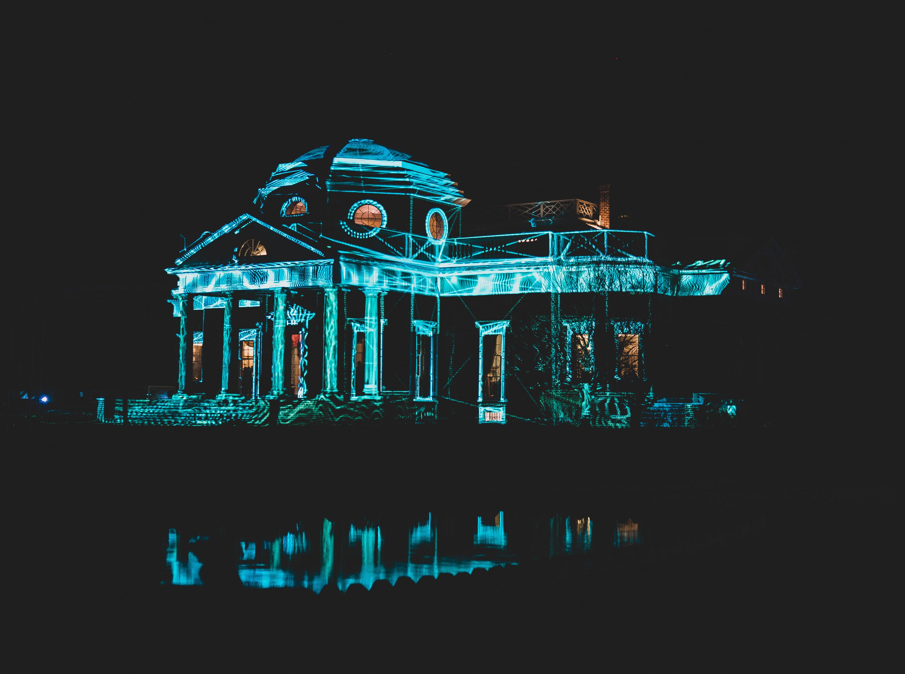 Light projection on West Portico