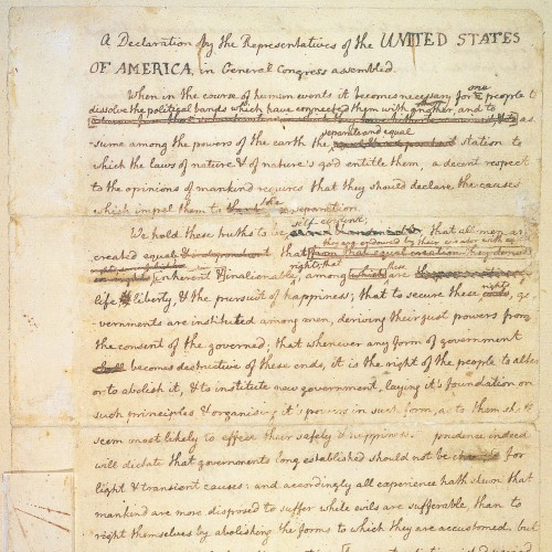 photograph regarding Printable Declaration of Independence Pdf titled Transcript of the Challenging Draft of the Declaration Thomas