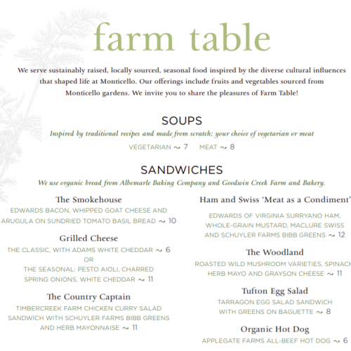 Farm Table café at Monticello | Thomas Jefferson's Monticello