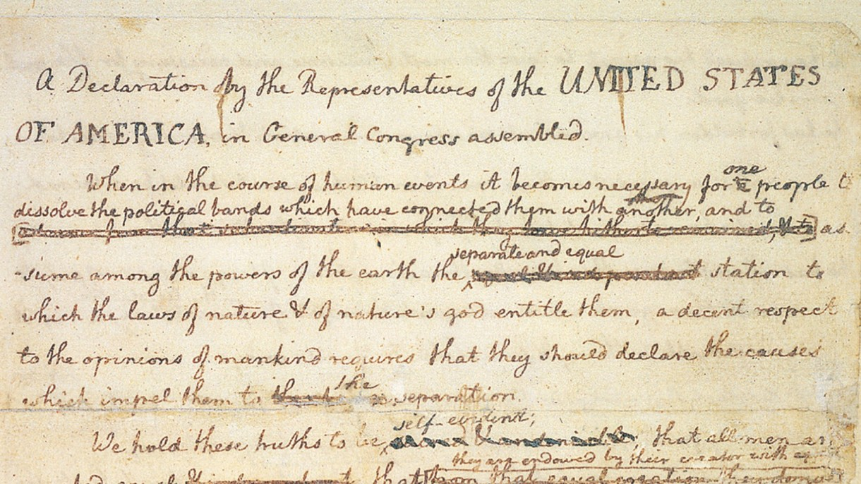 photo relating to Printable Declaration of Independence Pdf identified as Transcript of the Challenging Draft of the Declaration Thomas