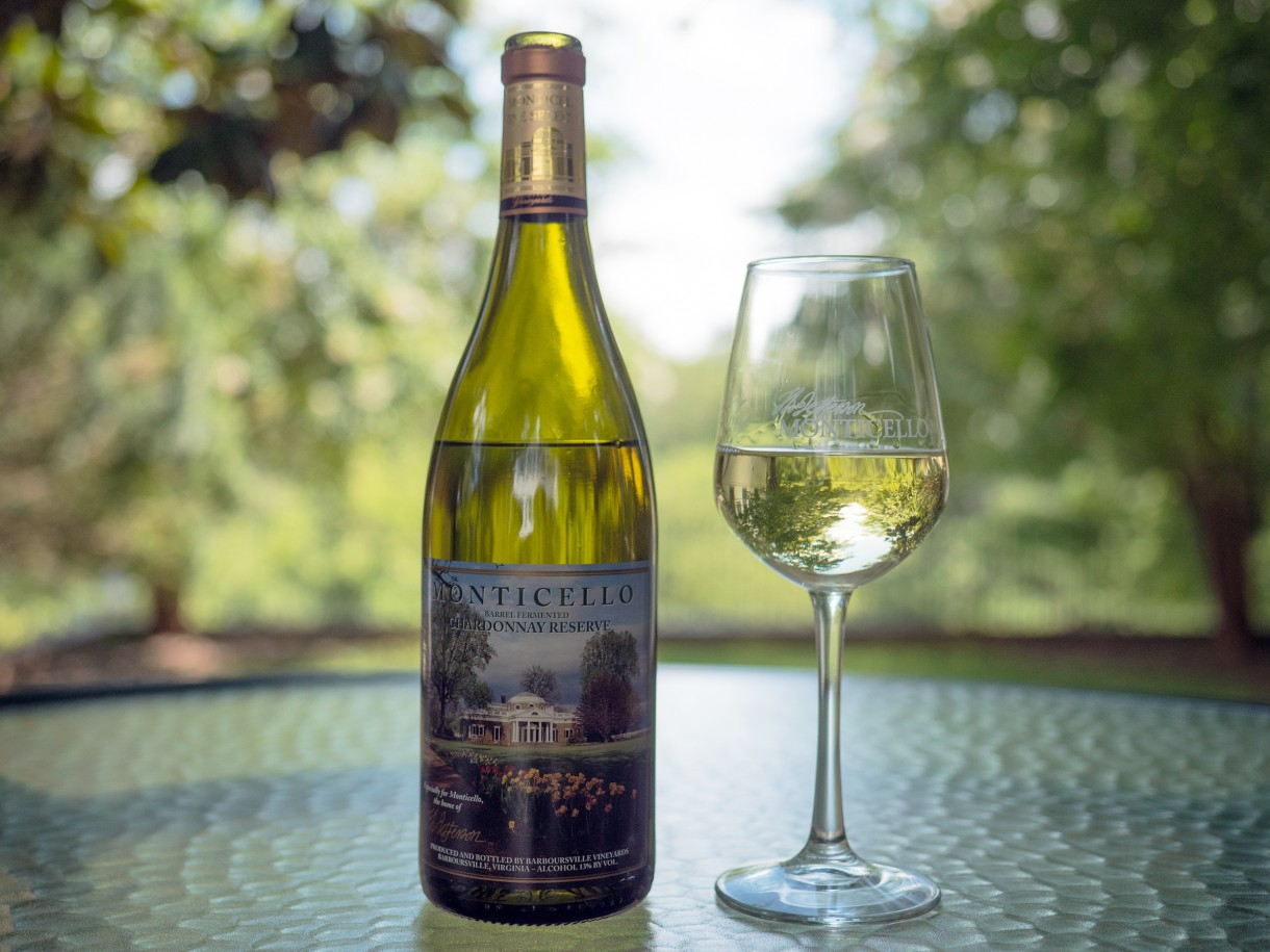 Monticello Reserve Chardonnay and glass of wine