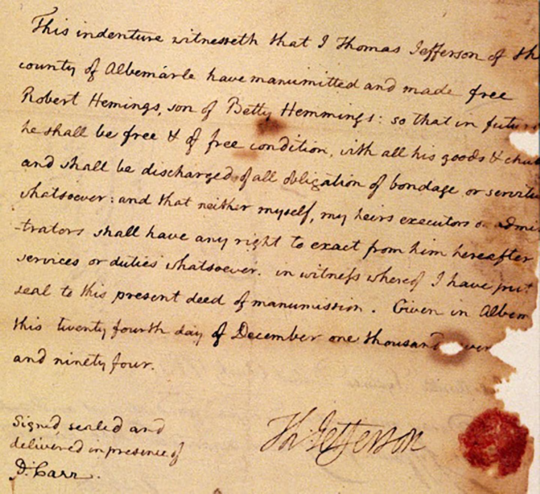 Deed of Manumission for Robert Hemings