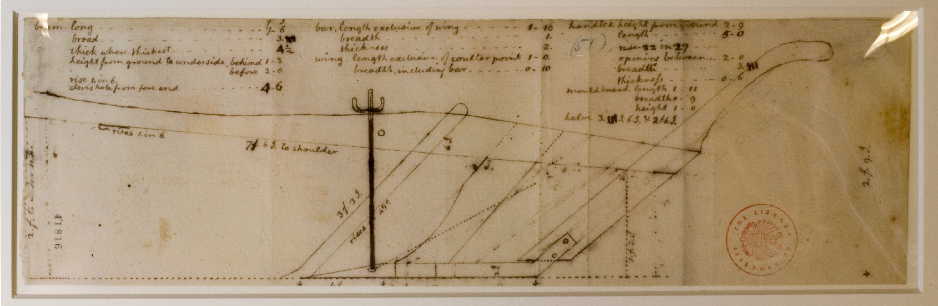 Jefferson's drawing for the Moldboard Plow of Least Resistance
