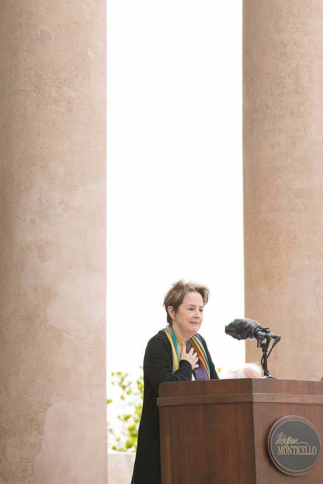 Chef Alice Waters in front of Monticello's West Front columns speaking on April 13, 2017.