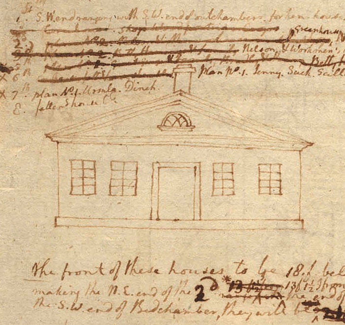 <strong>Monticello: stone house (slave quarters), recto</strong> by Thomas Jefferson, 1770.