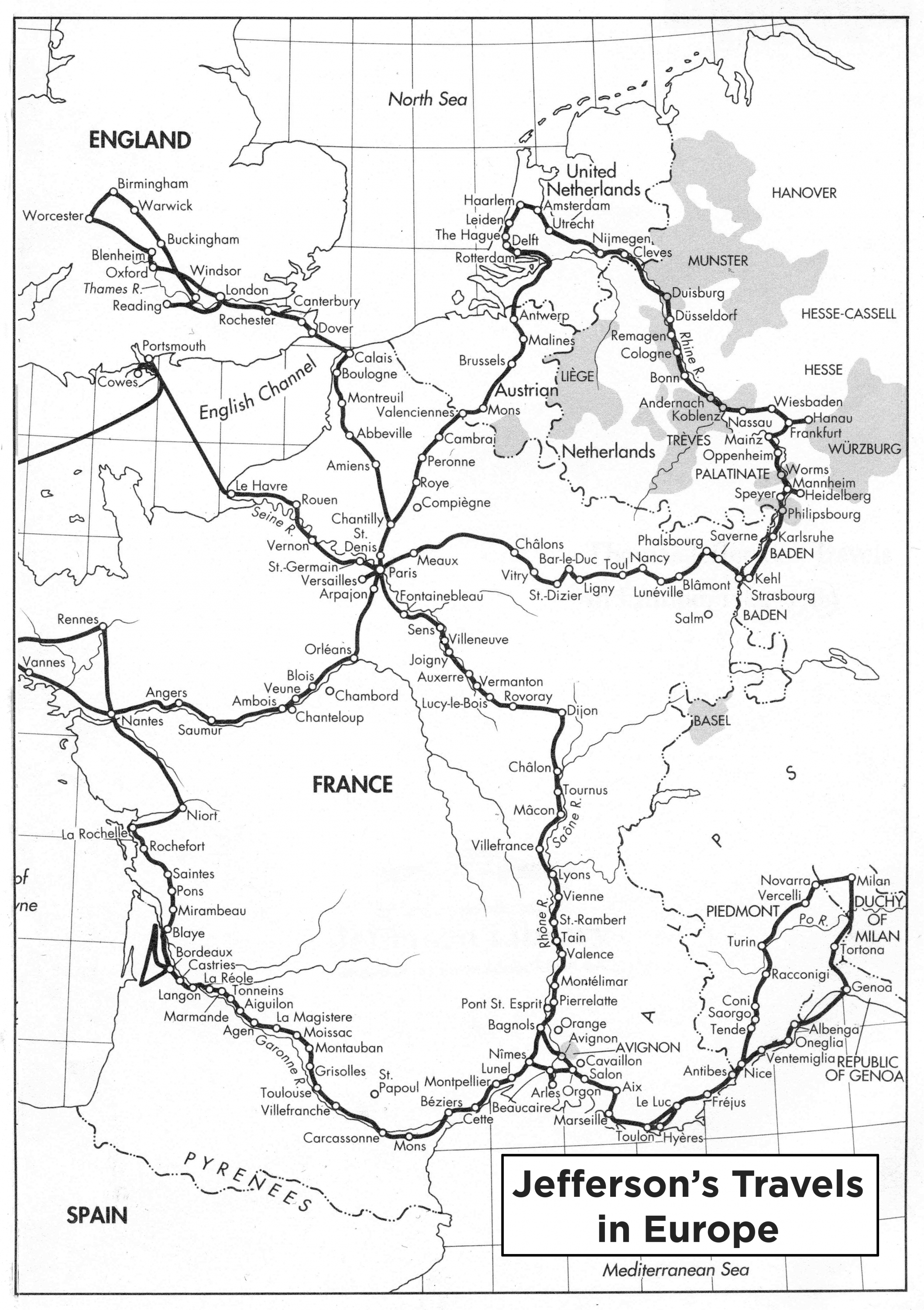 Map of Jefferson's travels in Europe