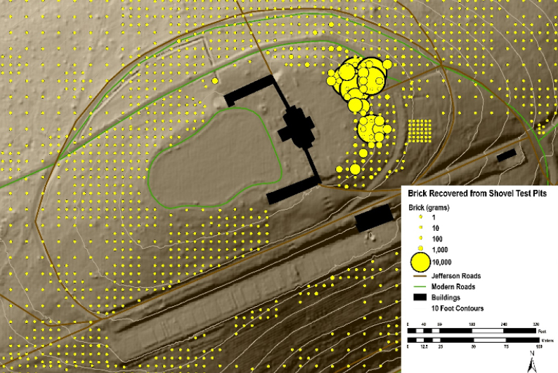 Figure 4. Map of the distribution of brick weights in shovel test pits across the mountaintop. Each circle is an STP. Its radius is proportional to the amount of brick recovered from it. The enormous amount of brick recovered from STPs in the outer zone of the East Lawn is rubble from the dismantling of Monticello I.