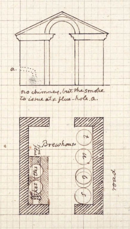 "Jefferson's s undated plan and elevation for a ""Brewhouse"""